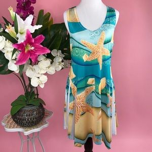 India Boutique Starfish Seashell Print Dress OS